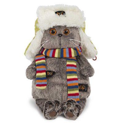 Кот Басик в зимней шапке 25 см