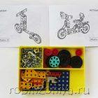 Конструктор металлический цветной Юниор (124 элемента, 19 моделей)