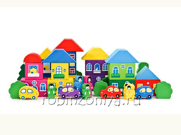 Деревянный конструктор Цветной городок от Томик купить с доставкой по России в интернет-магазине robinzoniya.ru.