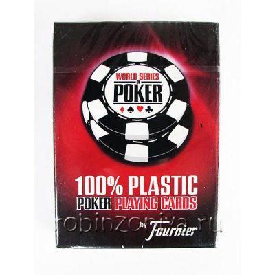 Пластиковые карты для покера Fournier WSOP, 100% пластик, увеличенный индекс