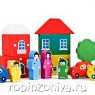 Томик деревянный конструктор Цветной городок (8 дет.)