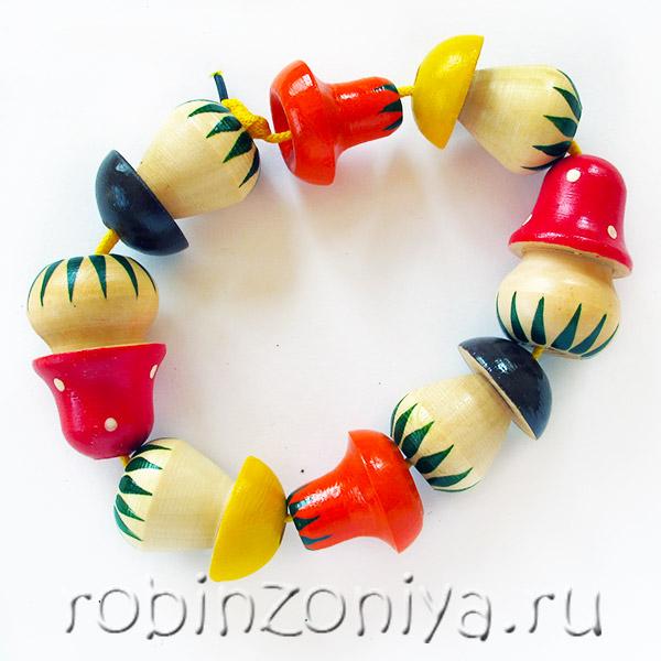 Бусы Грибы шнуровка счетный материал купить в интернет-магазине robinzoniya.ru.