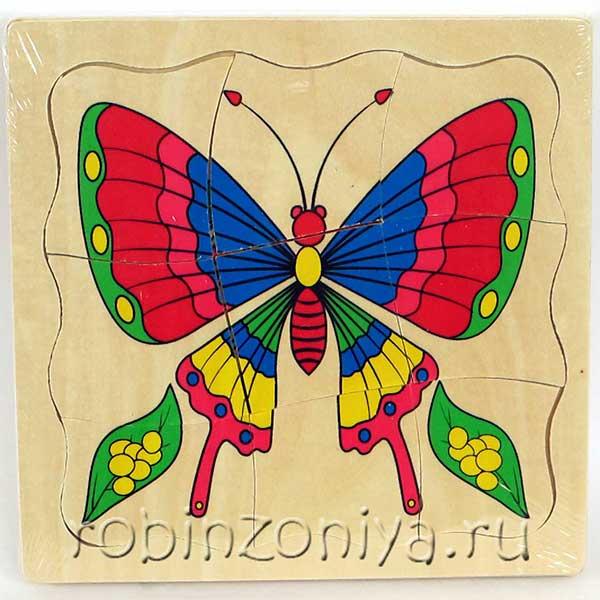 Многослойный пазл из дерева Бабочка купить с доставкой по России в интернет-магазине robinzoniya.ru.