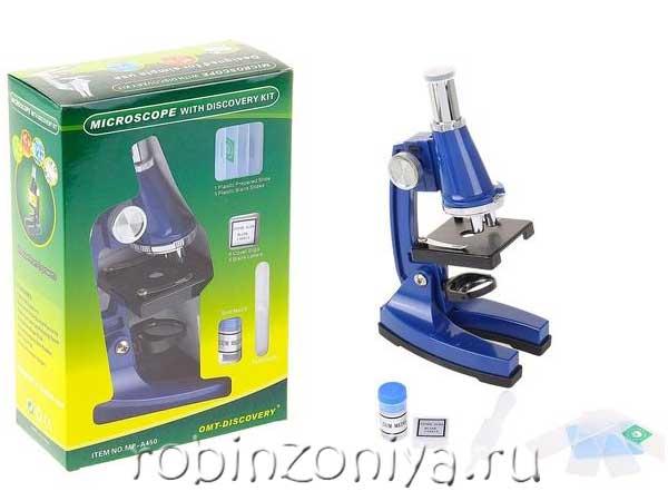 Детский микроскоп с набором аксессуаров и подсветкой