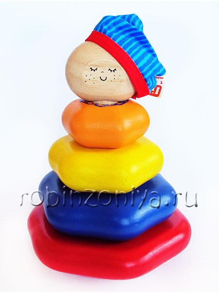 Игрушка пирамидка деревянная купить в интернет-магазине robinzoniya.ru.