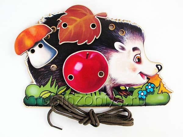 Игрушка шнуровка деревянная Ежик купить в интернет-магазине robinzoniya.ru.