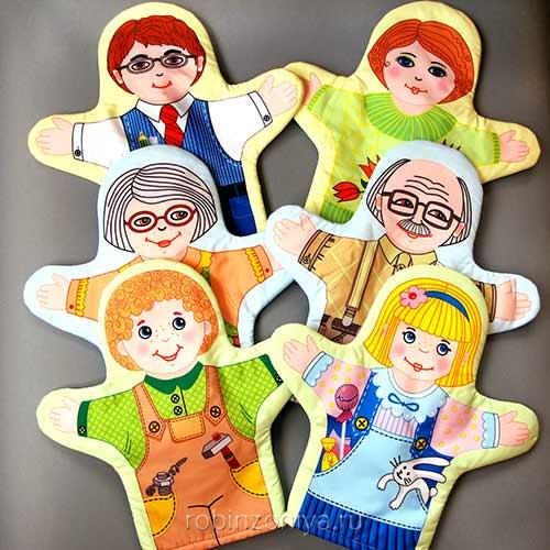 Куклы рукавички Семья (6 шт.) купить с доставкой по России в интернет-магазине robinzoniya.ru.