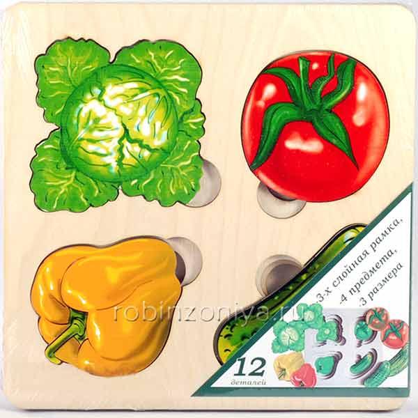 Рамка с вкладышами «Овощи. Больше-меньше» купить в интернет-магазине robinzoniya.ru.