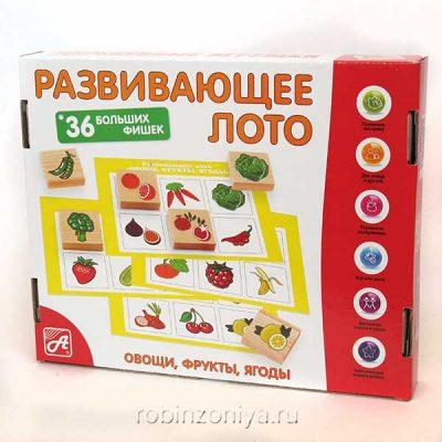 Лото деревянное Фрукты-овощи / Анданте