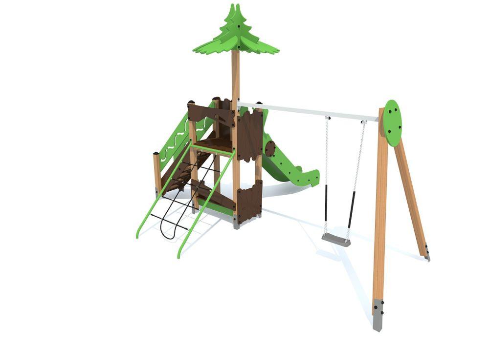 Детский игровой комплекс с горкой и качелями S1112
