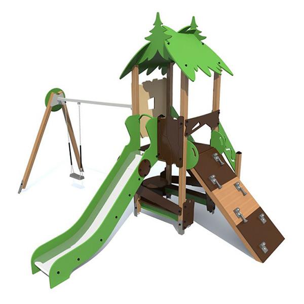 Детский игровой комплекс с горкой и качелями S1104