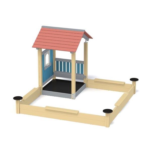 Песочница с домиком деревянная K5321
