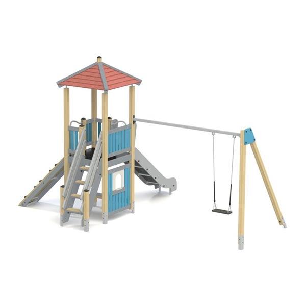 Детский игровой комплекс с горкой и качелями КS1104